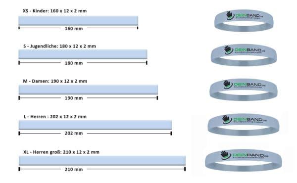 Größen Silikonarmbänder